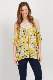 Yellow Floral Crochet Cold Shoulder Top