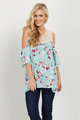 Mint Floral Crochet Cold Shoulder Top