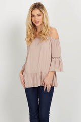 Mocha Bell Sleeve Cold Shoulder Top