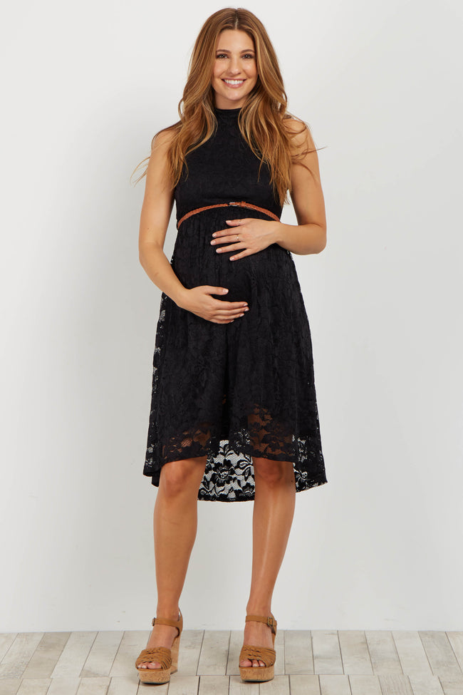 Black Lace High Neck Belted Maternity Dress