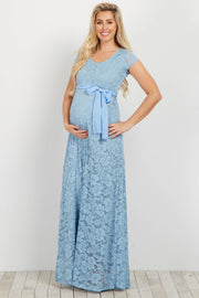 Light Blue Lace Sash Tie Maternity Gown