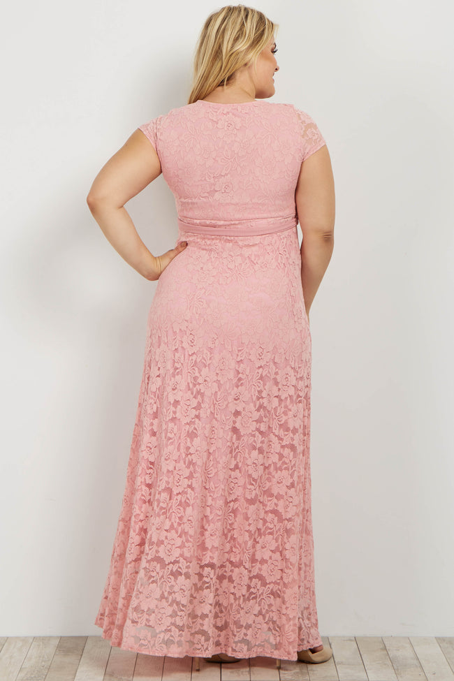 Pink Lace Sash Tie Plus Maternity Dress