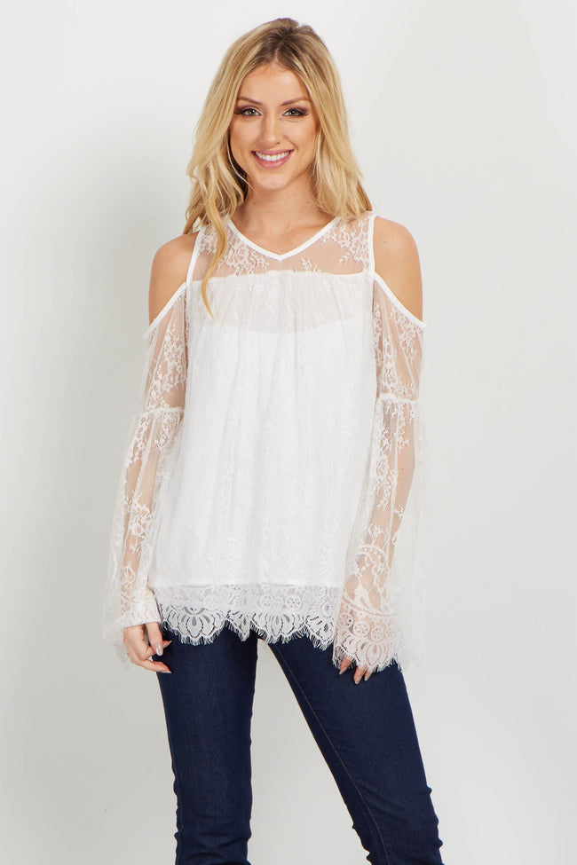 Ivory Lace Cold Shoulder Top