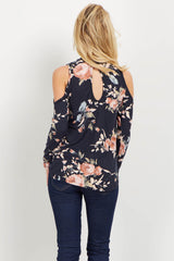 Black Floral Choker Neck Cold Shoulder Top