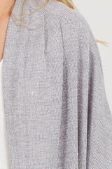 Grey Dolman Sleeve Knit Cover Up