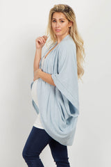 Light Blue Dolman Sleeve Knit Maternity Kimono