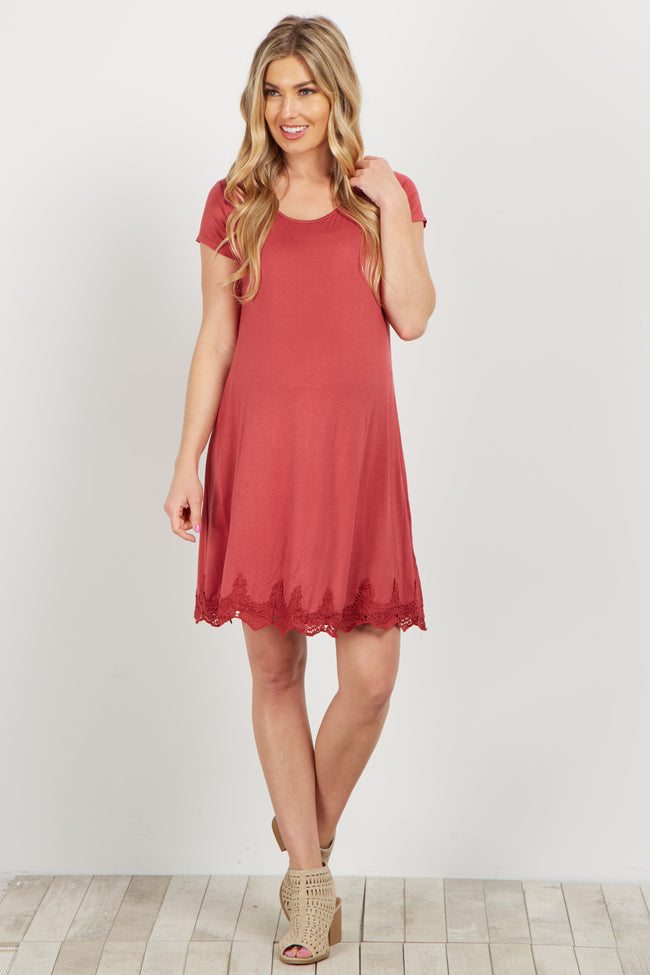 Coral Crochet Trim Open Back Maternity Dress