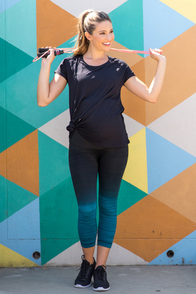Teal Ombre Heathered Maternity Active Leggings