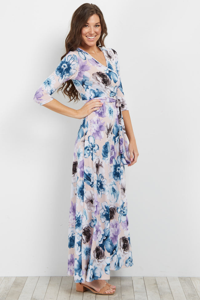 Light Pink Floral Sash Tie Maxi Dress