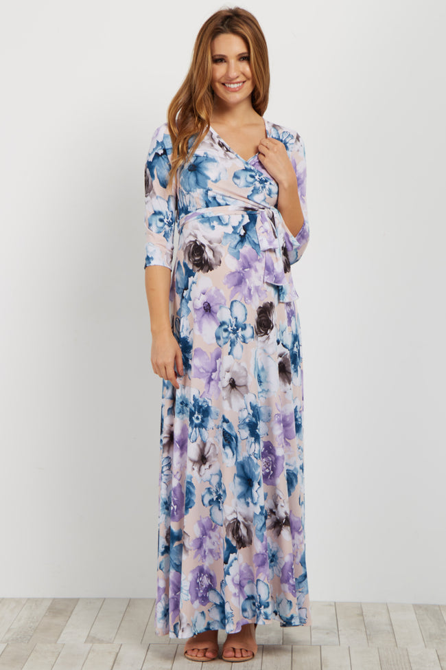 Light Pink Floral Sash Tie Maternity/Nursing Maxi Dress