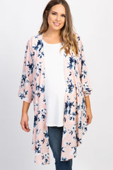 Light Pink Floral Plus Long Kimono