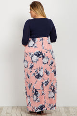 Light Pink Colorblock Floral Bottom Plus Maternity Maxi Dress