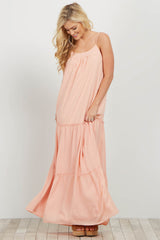 Pink Tiered Chiffon Maxi Dress