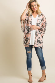 PinkBlush Light Pink Floral Bell Sleeve Maternity Kimono