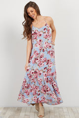 Light Blue Rose Ruffle Trim Maternity Maxi Dress