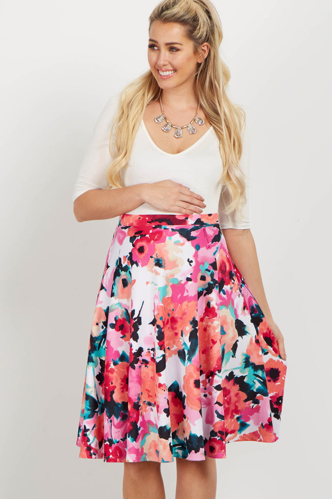 Red Floral Maternity Flare Skirt