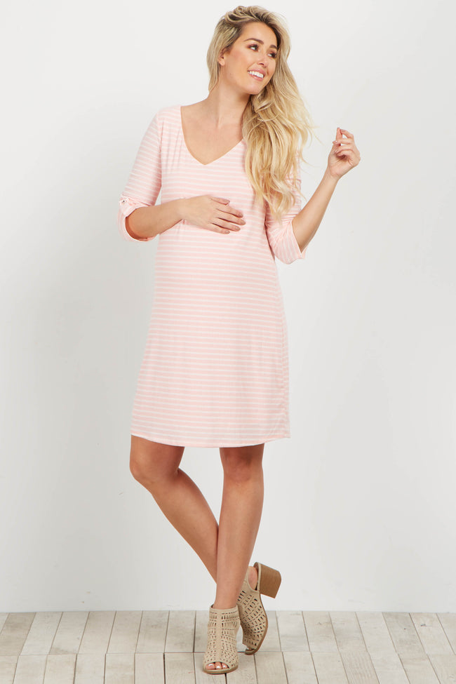 Light Pink Striped 3/4 Sleeve Maternity Dress