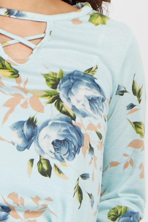 Light Blue Floral Cutout Front Maternity Top