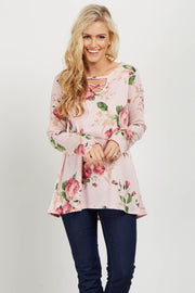 Light Pink Floral Cutout Front Top