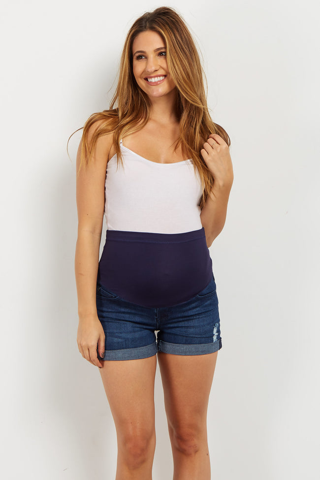 Navy Cuffed Maternity Jean Short