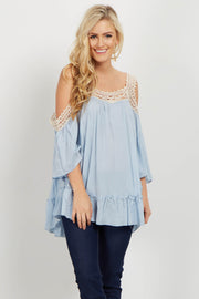Light Blue Crochet Cold Shoulder Top