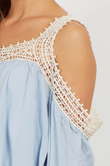 Light Blue Crochet Cold Shoulder Maternity Top