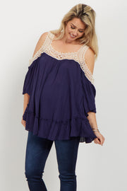 Navy Crochet Cold Shoulder Maternity Top