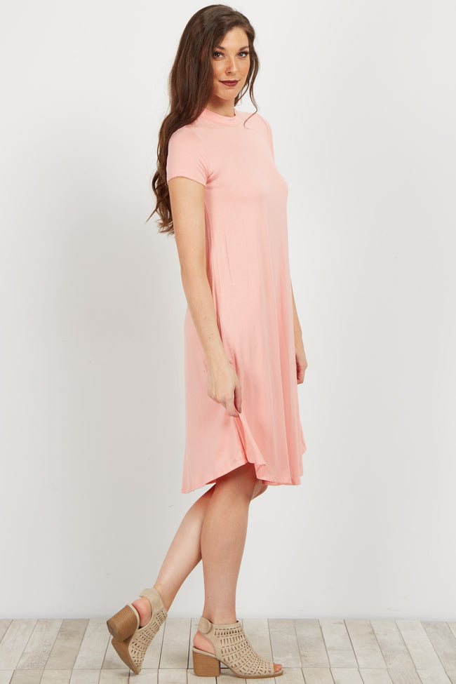 Pink Solid Swing Dress