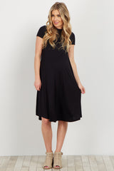 Black Solid Maternity Swing Dress
