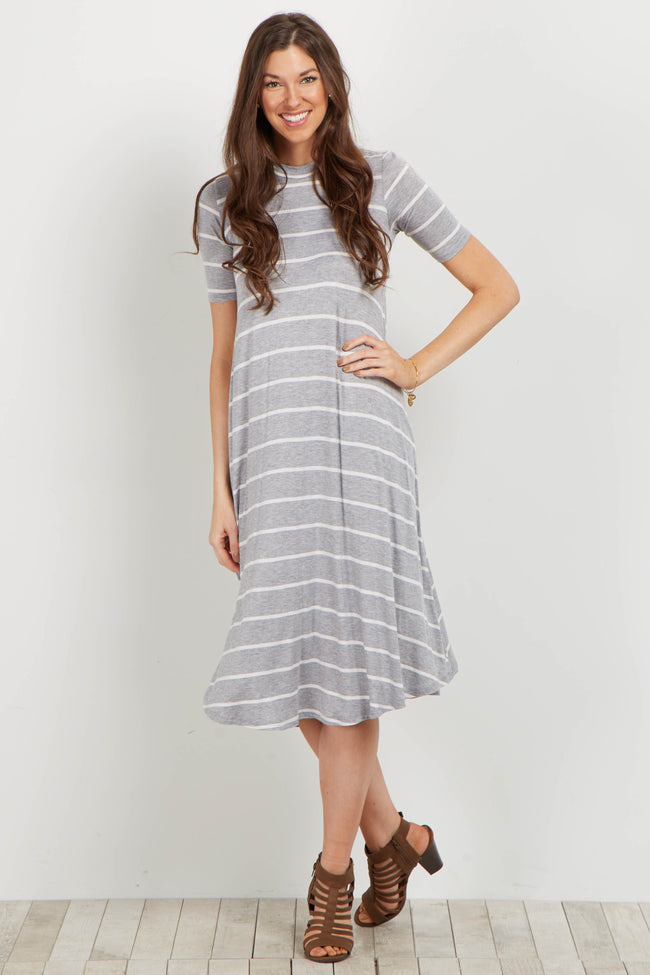 Heather Grey Striped Midi Swing Dress