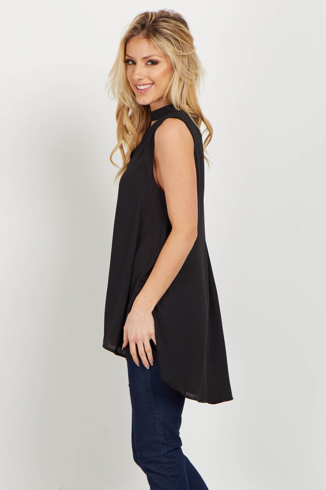 Black Mock Neck Cutout Blouse