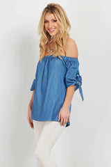Blue Off Shoulder Tie Sleeve Top