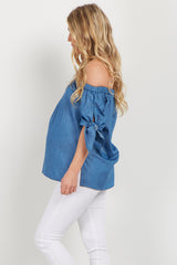 Blue Off Shoulder Tie Sleeve Maternity Top