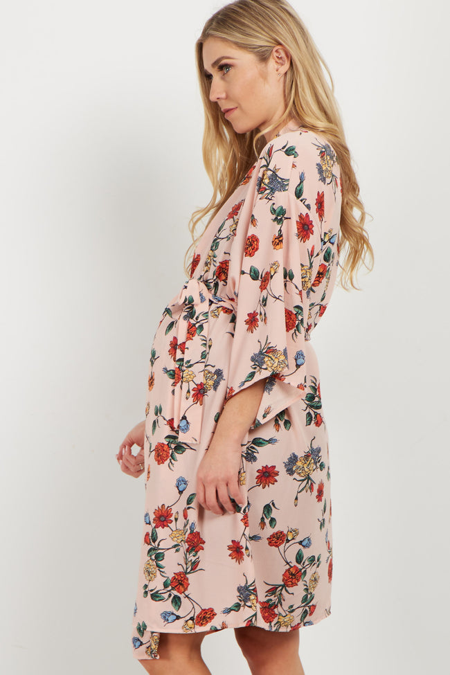 Light Pink Floral Delivery/Nursing Maternity Robe