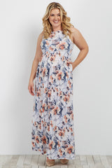 Blue Floral Sleeveless Plus Maternity Maxi Dress