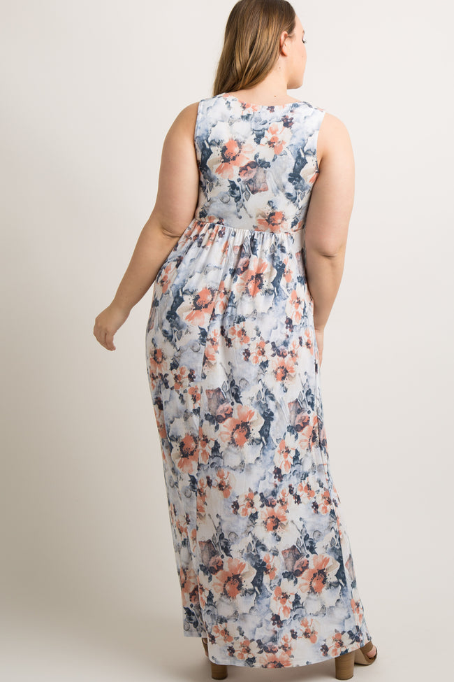 Blue Floral Sleeveless Plus Maxi Dress