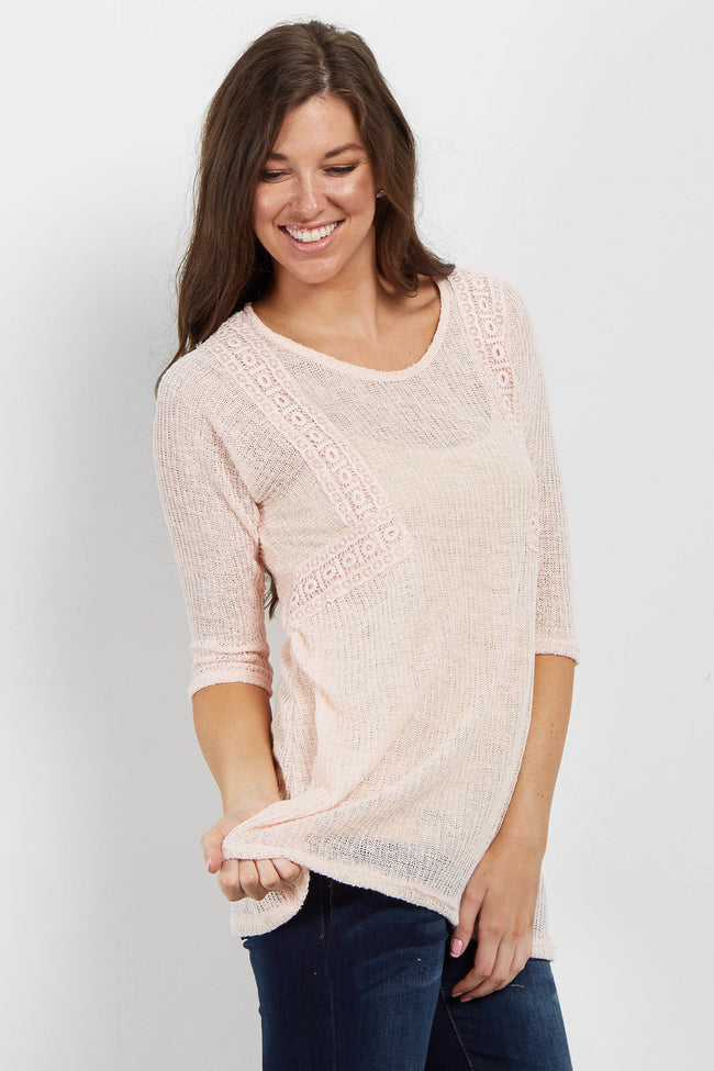 Pink Crochet Accent Open Knit Sweater