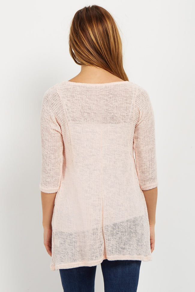 Pink Crochet Accent Open Knit Maternity Sweater