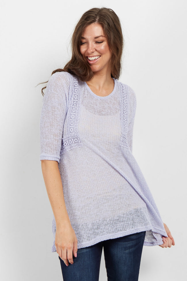 Lavender Crochet Accent Open Knit Maternity Sweater