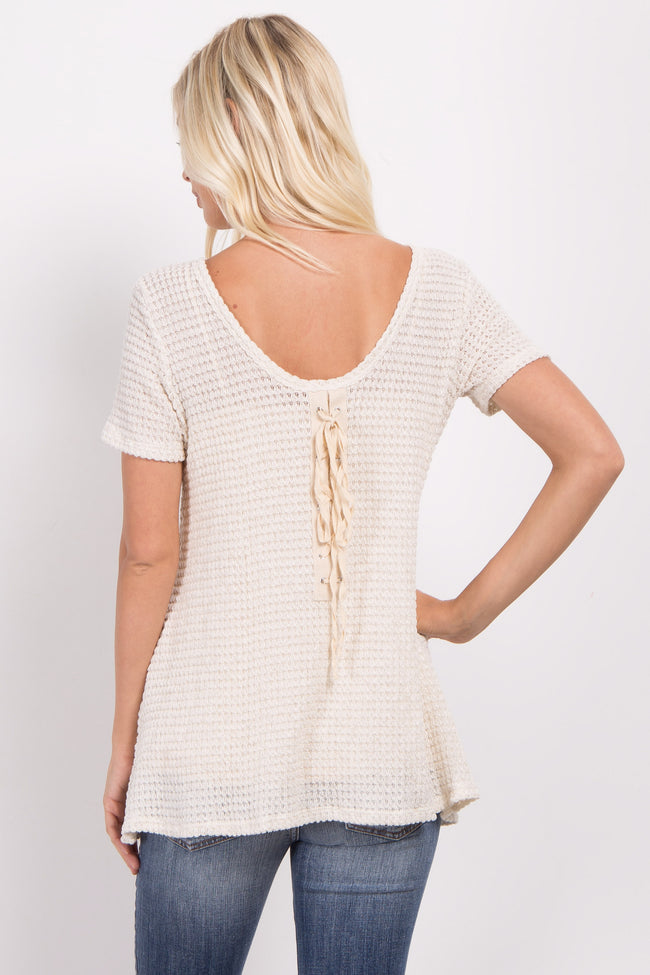 Beige Lace-Up Back Knit Top