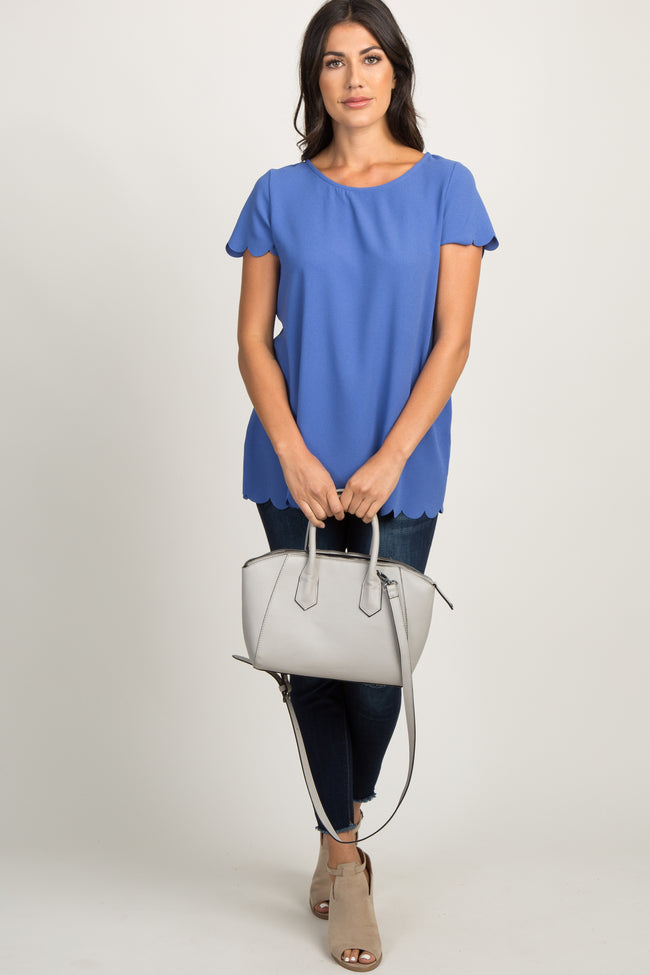 PinkBlush Blue Solid Scalloped Hem Maternity Top