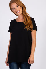 PinkBlush Black Solid Scalloped Hem Maternity Top
