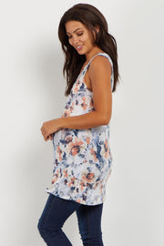 Blue Floral Maternity Tank Top