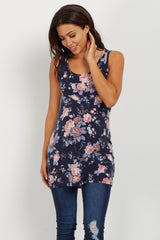 Navy Floral Maternity Tank Top