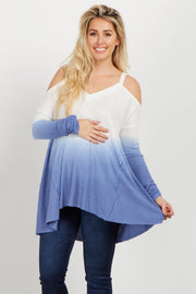 Blue Ombre Cold Shoulder Knit Maternity Top