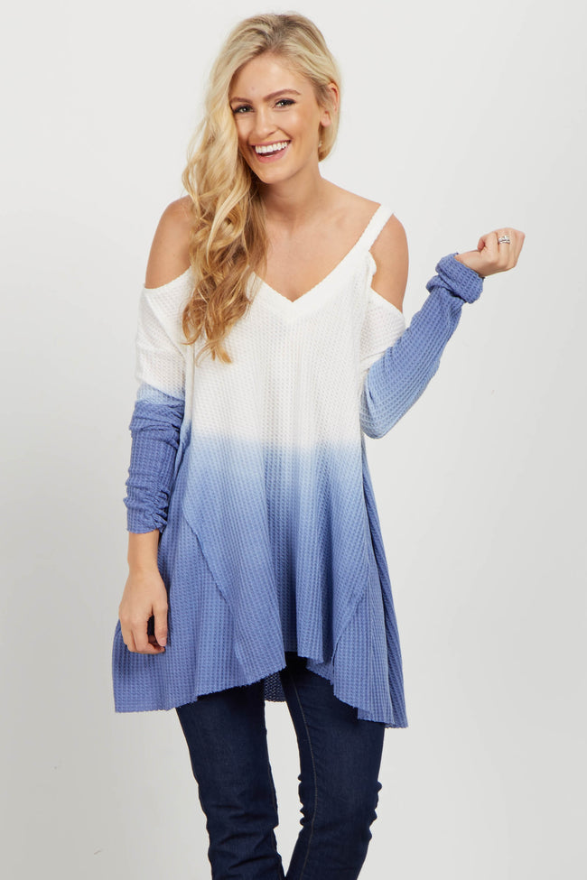 Blue Ombre Cold Shoulder Knit Top
