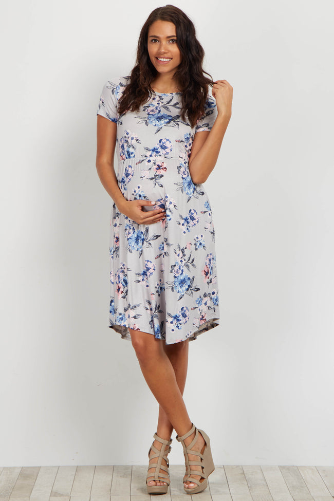 Silver Floral Short Sleeve Maternity Dress