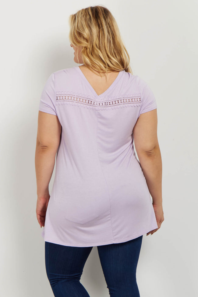 Lavender Crochet V Neck Plus Maternity Tee