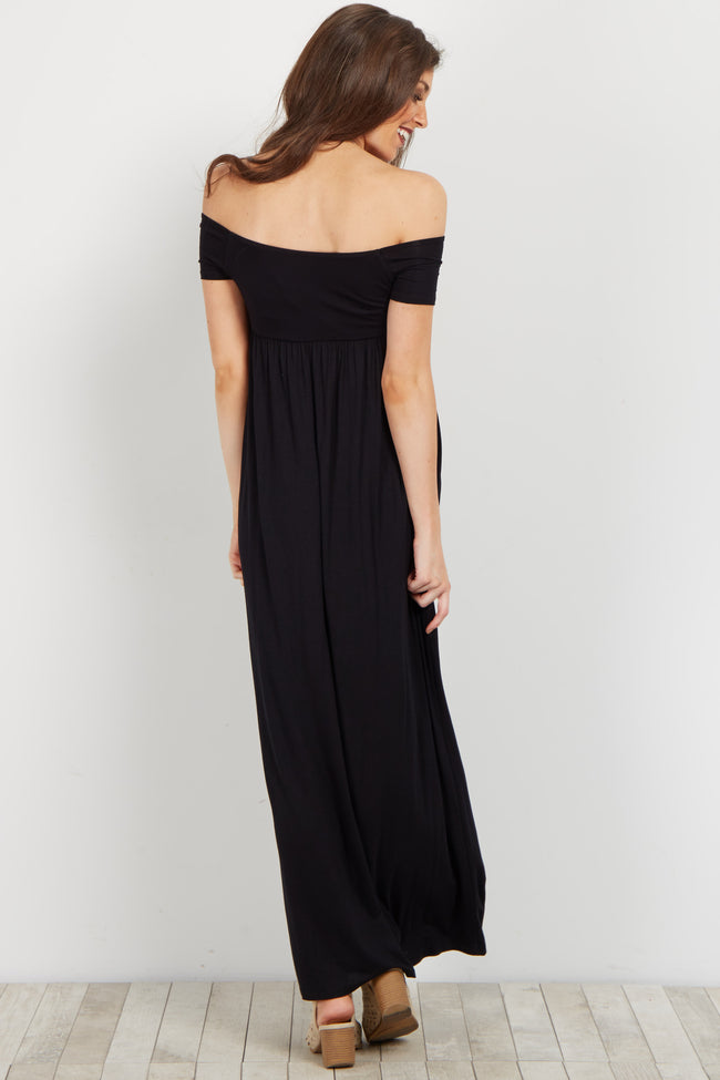 Black Basic Off Shoulder Maxi Dress