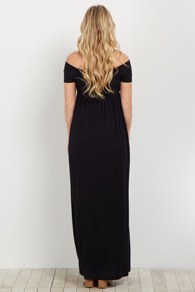 Black Basic Off Shoulder Maternity Maxi Dress